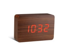 Gingko Brick Click Clock Walnut Wecker - Holzoptik