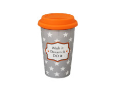Krasilnikoff Happy to go Travel Tasse Wish it, dream it, do it